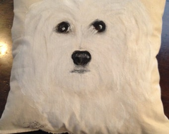 Maltese Puppy Lovers.  This pillow will go anywhere in your home.