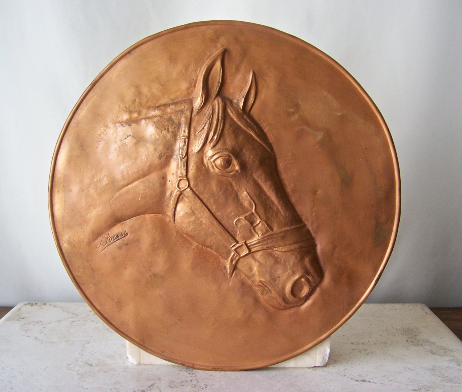 Vintage Copper Wall Plaque Horse Head Wall Plate Equestrian