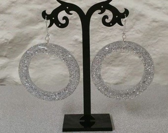 Vintage silver glitter lucite 6cms hoops newly made into earrings 1950s rockabilly