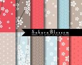 Sakura Blossom Digital Paper set INSTANT DOWNLOAD- Japanese sakura digitals