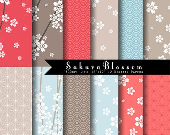Sakura Blossom Digital Paper set INSTANT DOWNLOAD- Japanese sakura digitals