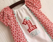First Birthday Baby Girl Custom Red flower and Aqua blue Dress With Applique Monogram