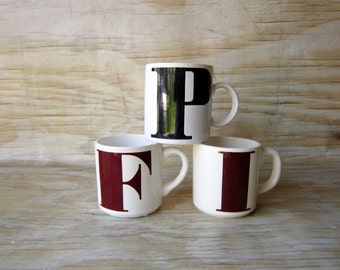 Three Vintage Initial Mugs - Instant Collection