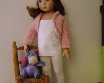 91. French and english knitting pattern PDF - bolero and hat for Little Darling by Dianna Effner doll 13''