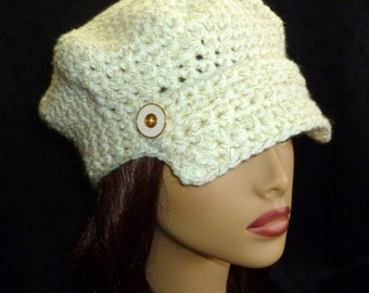 Newsboy Cap, Brimmed Cap, Crochet Newsboy Hat, Ivory Newsboy Hat, Newsboy Beanie - Glitter Cream