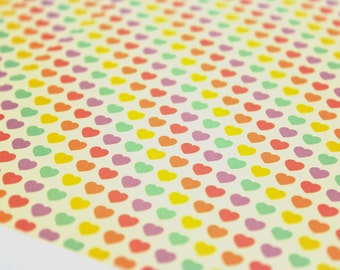 Lots of Love Origami Paper 8 sheets, Pastel Hearts Tiled,  8 sheets of Medium Sized 5 Inch squares,  Modern Geometric Origami Paper Supplies