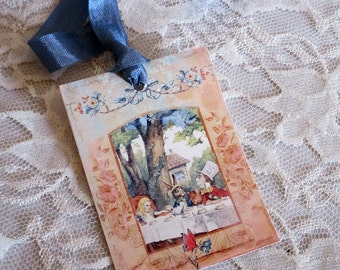 French Gift Tags, Alice in Wonderland Gift Tags, Gift Tag, Vintage Gift Tag, Alice in Wonderland, Alice Tea Party, Handmade Gift, ECS