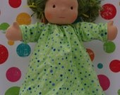 SALE - Flannel Polka dotted Nightgown for 15-16 in waldorf inspired doll