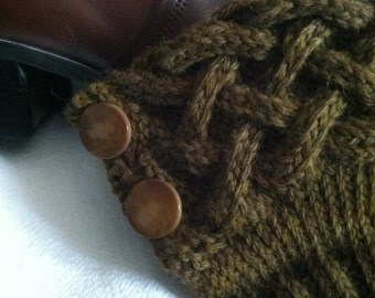 Olive Braided Cabled Knit Boot Cuffs Alpaca Merino with Vintage Buttons Quiltsy Handmade