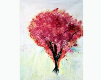 Red Tree Large Oil Painting-Original still life art-Cy Twombly-Red Flowers- wall art-Impressionist painting-Contemporary art.FREE SHIPPING