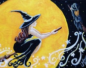 SALE - Halloween ACEO Giclee Print - Witches Night Out - Moon Stars Woman Broom SFA Art Safyre Studios