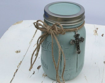 Scripture Jar with Cross, Duck Egg Blue Chalk Paint, Holds 50 Encouraging Bible Verses,