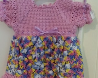 Bevy of Butterflies Baby Dress - size 3 months, hand crocheted in Baby Bee Sweet Delight yarn