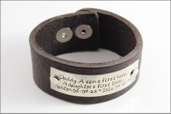 Customized Leather Bracelet - Daddy, A Son's First Hero, A Daughter's First Love
