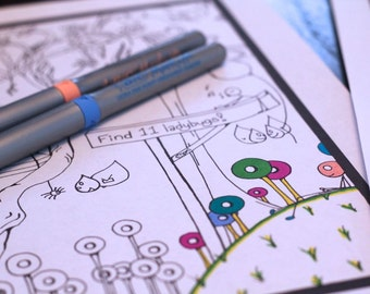 Set of 3 Kids Printable Activity Sheets Digital Coloring Workbook Page Instant Download Original Art #1