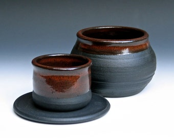 French Butter Keeper in Black Clay with Temmoku Glaze
