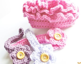 Newborn baby girl ruffled diaper cover with matching headband.  Ready to ship in hot pink, pale lavender, and dusty purple.