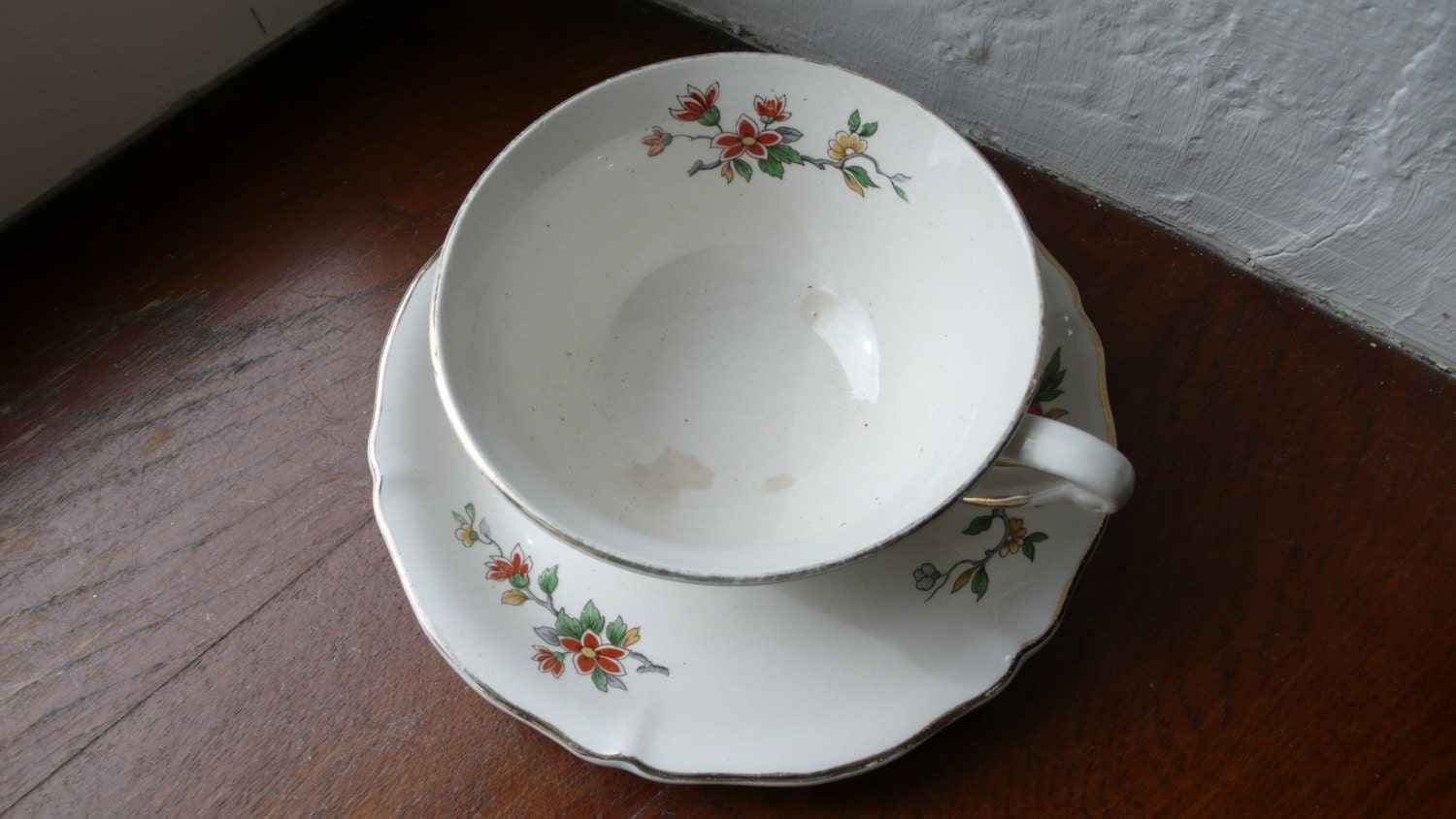 French Antique Large Cup And Saucer Ceranora Coffee Tea