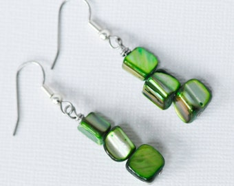Green Mother of Pearl Shells . Earrings