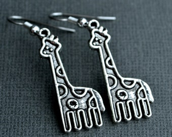 Silver Giraffes . Earrings