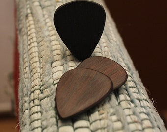3 Wood guitar picks set Dark Rosewood hand made ukulele