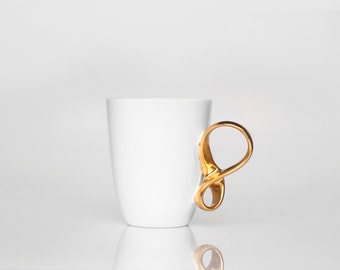 Porcelain Cup MOBIUS cup white and gold china mug handmade by ENDE ceramics