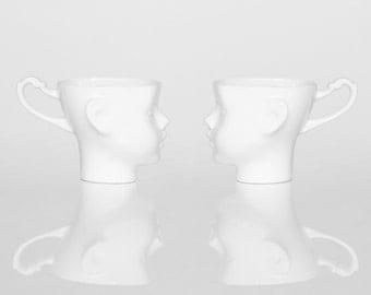 Porcelain doll head mugs - set of two, coffe mug or tea mug, white artisan cups