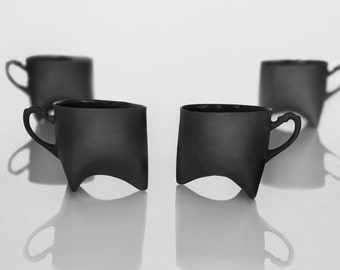 Black Porcelain cups set of four , ceramic cups handmade coffee cups or tea cups by Ende