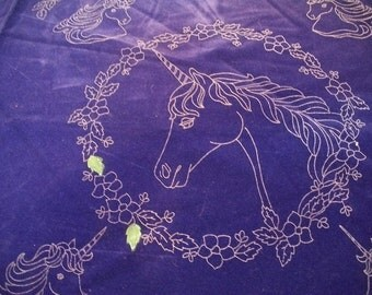 Craft Supplies, Purple Velvet Unicorn Print to Paint, Pillow Fabric, Unicorn Pillow Project, Tri Chem Purple Velvet Print to Paint,