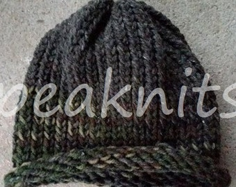 Hand Knit Army/Military Child or Adult Hat ~ Gray with Camoflauge Green, Brown, Black and Tan ~ Wool, Mohair and Acrylic - Hand Wash Air Dry
