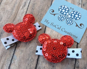 Mickey/Minnie Mouse Inspired Hair Clip Set-Red-No Slip Hair Clips-Pigtails-Sequin Mouse Ears