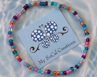 "Czech Glass Beaded 9"" Anklet-Boho Chic-Multi Teal Mix"