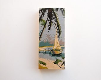 "Paint by Number Large   6"" x 14"" Art Block 'Tropical Boat' - palm trees, beach, tropical island, vintage art, tiki"