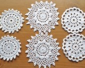 6 Small White Vintage Handmade Crochet Doilies