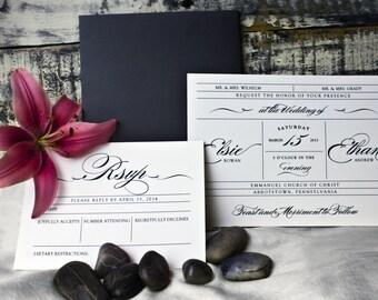 Vintage Wedding Invitations - Printable - Flowing Script Font - Ticket Style
