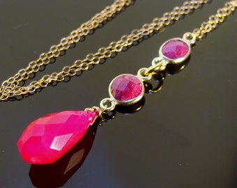 Ruby and Hot Pink Chalcedony 14k Gold Filled or Sterling Silver Gemstone Necklace