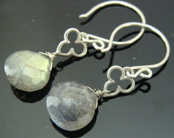 Labradorite Briolette Sterling Silver Earrings
