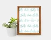 Vintage Aquamarine Bicycle Printable Art, Illustration, Inspirational Quote / 8x10 Retro Bike Digital Print, Wall Decor / Christmas Gifts
