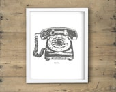 Charcoal grey and white rotary phone print - Retro vintage telephone printable art, poster, wall decor, illustration - 8x10 DIY framed art