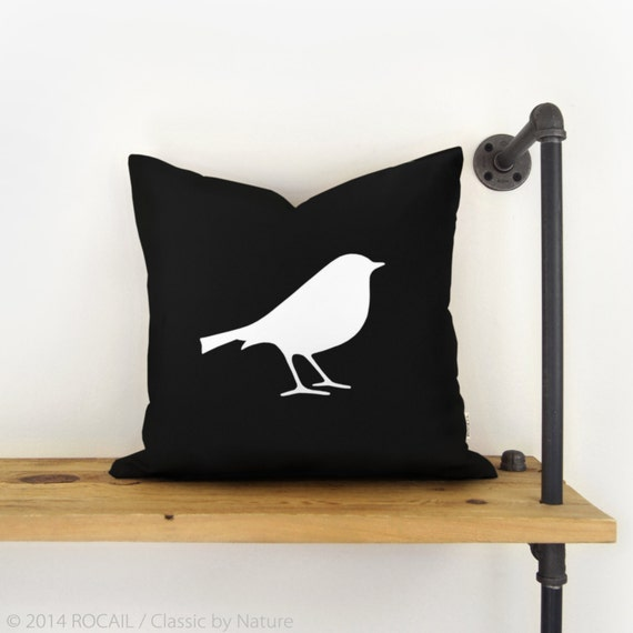 Black And White Decorative Pillow Cases : Black and white bird pillow case cushion cover by RocailStudio