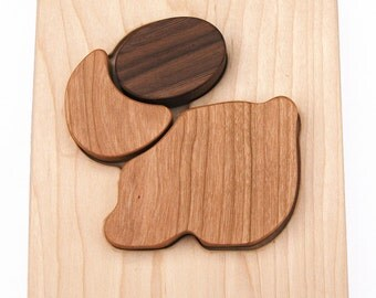 Wooden Classic Bunny Puzzle // Natural, Organic, Rabbit Chunky Wood Montessori Baby Toy // Eco Friendly Toy Wood Toy Wooden Puzzle