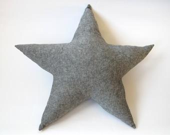 Star Pillow - Dark Grey Cotton Linen Blend - Nursery Decor