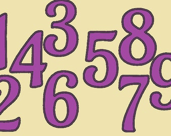 Birthday with wide satin stitch Numbers, machine embroidery applique designs - 4, 5, 6 and 7 inches