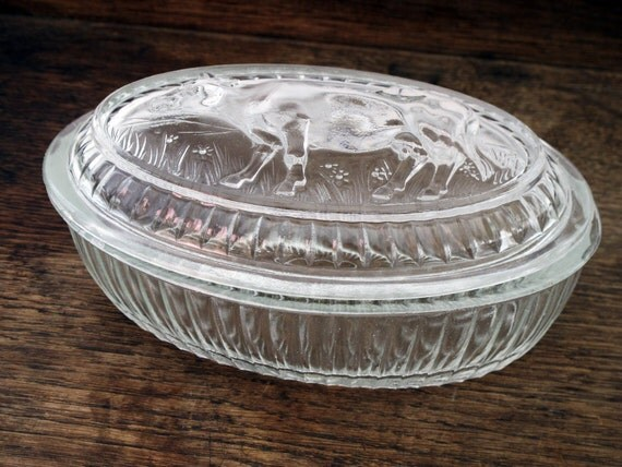 French Pretty Oval Vintage Glass Cow Dish Refined Glass