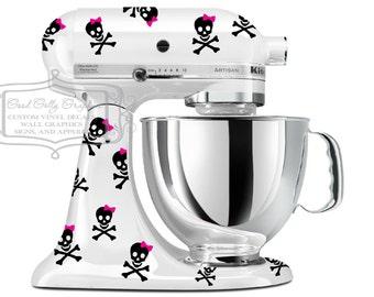 Kitchen mixer vinyl decal set 30 piece decal set of Skulls and Crossbones  - mixer decal- kitchen mixer decal