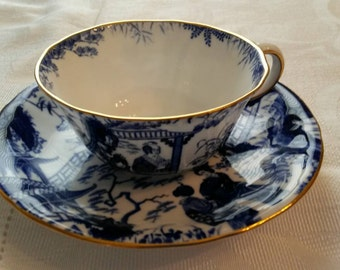 Royal Crown Derby Tea Cup and Saucer; Oriental Scene  circa 1923-1938  -DR