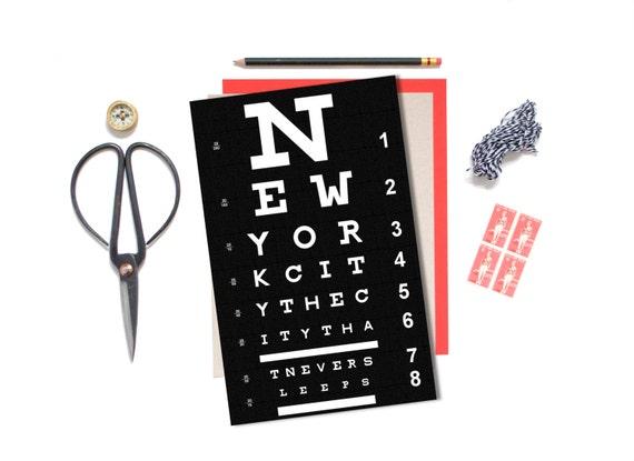 New York City , Eye Chart Poster, Eye Chart Art,  New York Poster, Living Room Wall Art, City Art, Home Decor, Quote Art, Holiday Gift