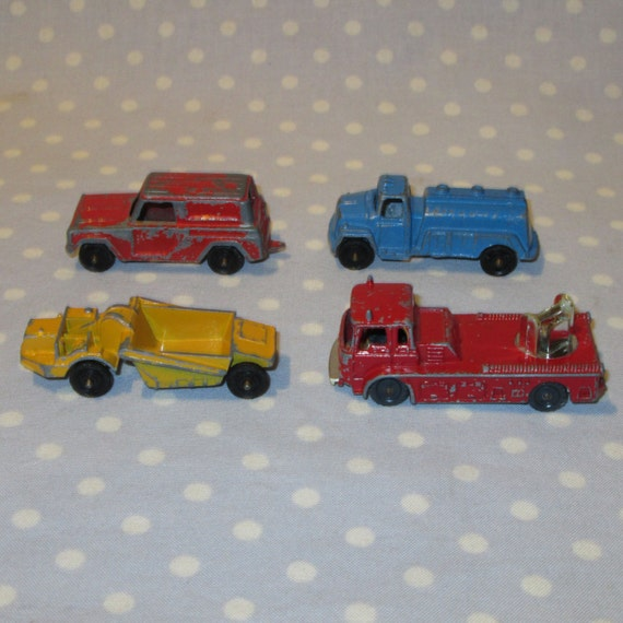 Set Of 4 Vintage Tootsie Toy Cars Trucks Panel Truck By