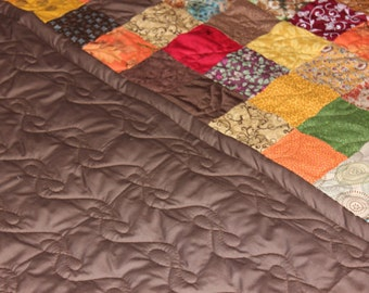 Custom Made Quilt ~ Earth Tones Patchwork California KING QUILT ~  Cal. King Handmade Custom Quilt ~ Everything Supplied!!!