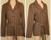 Vintage Retro 70s 60s Jubilation of California Button Front Plaid Jacket w Belt sz L